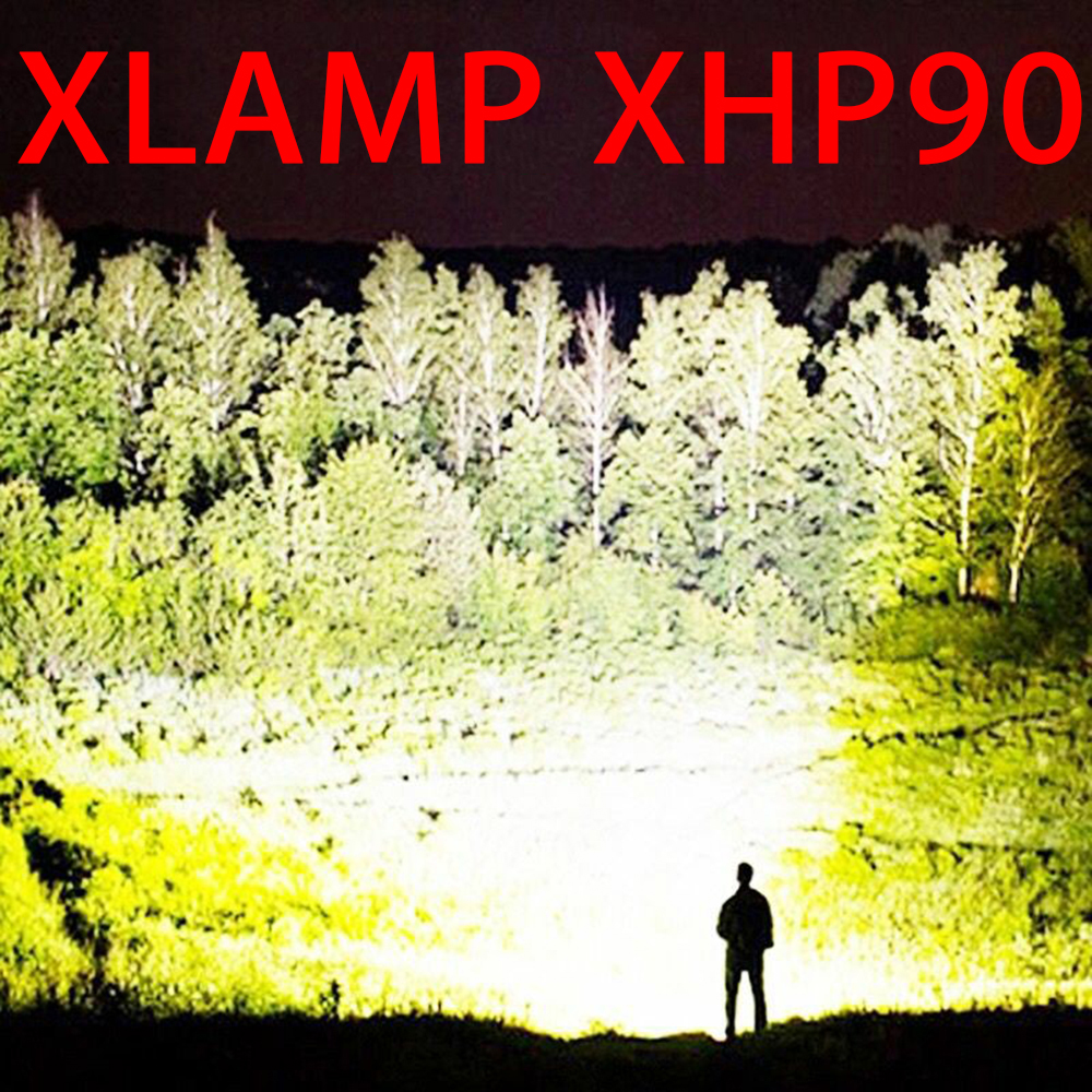 250000cd XHP90 Most Powerful Led Flashlight Usb Zoom Tactical Torch Xhp50 18650 Or 26650 Rechargeable Battery Hand Light