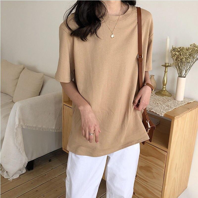 Женская футболка в английском стиле простота Стиль простые однотонные, стиль Харадзюку С О-образным вырезом из хлопчатобумажной ткани, раз...