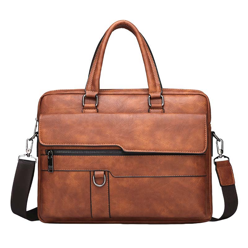 JODIMITTY Retro Men Solid Color Bag Faux Leather Briefcase Large Capacity Tote Shoulder Bag Casual Business Laptop Briefcase