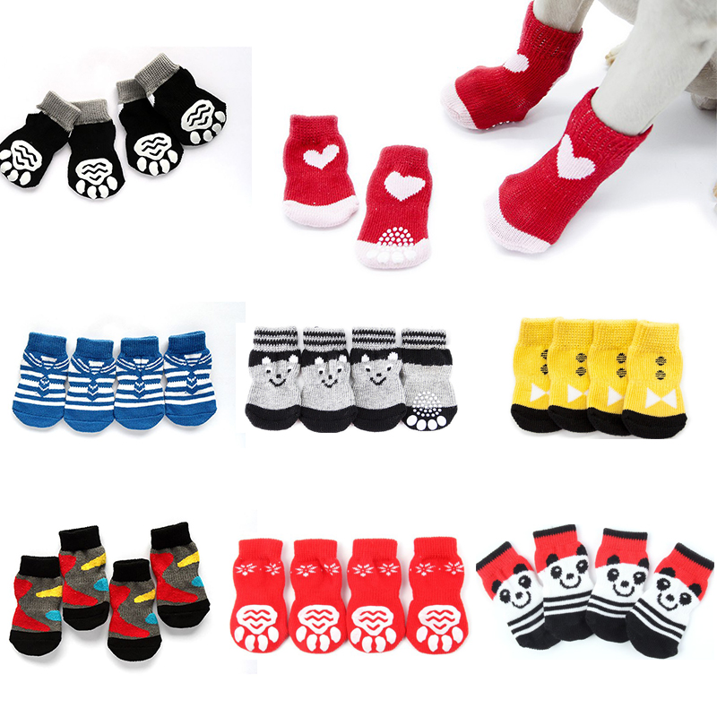 Pets Dogs Socks Winter Dog Shoes Anti-Slip Knit Socks Puppy Cat Shoes Chihuahua Thick Warm Paw Protector Dog Bootie 24 Colors