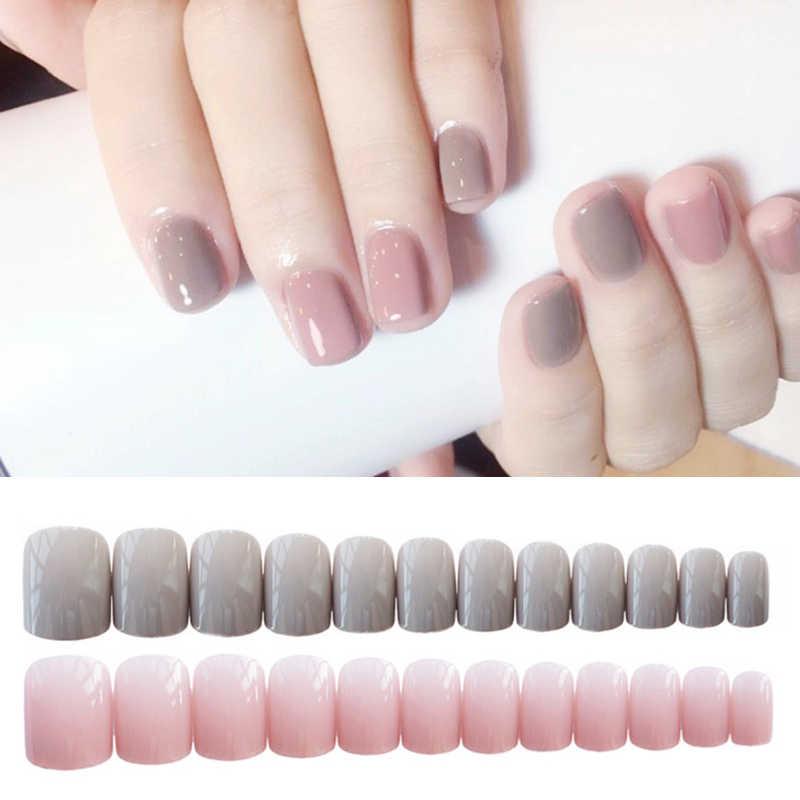 Mignon doux gris clair poudre sautant tête carrée solide couleur faux ongles fini 24 pièces faux ongles pour décoration d'art d'ongle