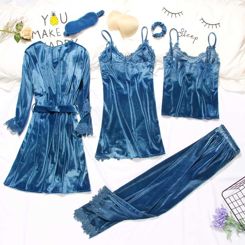 2019 Gold Samt Robe & Kleid Sets 3-6 Stück Warme Winter Pyjamas Sets Frauen Sexy Spitze Robe Pyjamas nachtwäsche Nachtwäsche Homewear