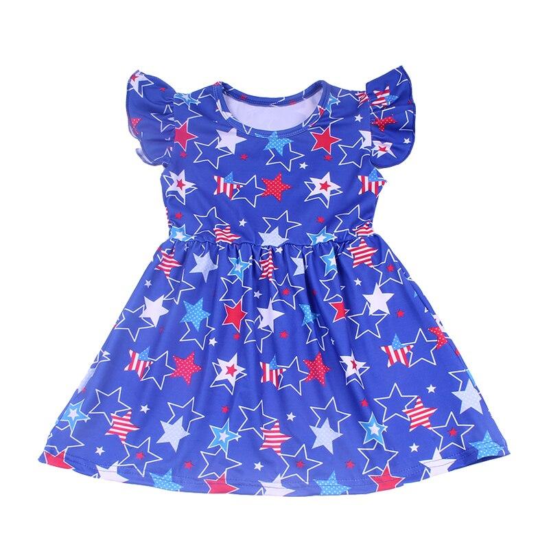 Платья для маленьких девочек с рисунком из мультфильма Эксклюзивное платье для девочек 4 июля Детские платья из молочного шелка с изображен...
