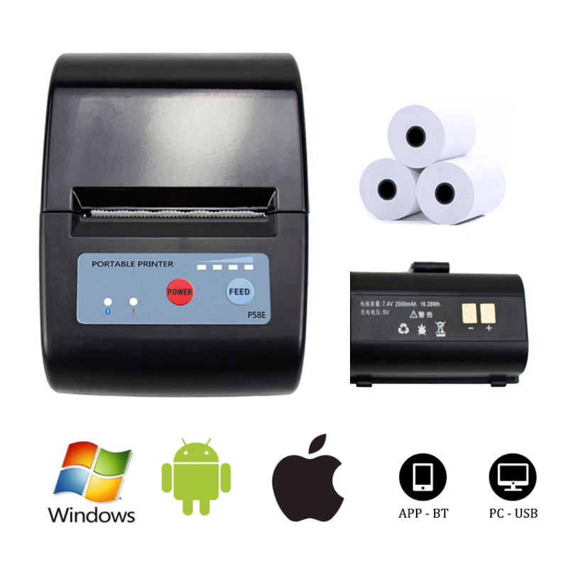 Mini Thermal Printer Portable Receipt Bill Printer Bluetooth Printer For Mobile Android Ios Phone 58mm Window Mac Printing Printers Aliexpress