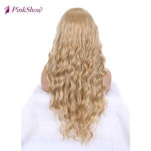 Image 3 - Парик блонд Pinkshow, Длинные Синтетические парики для женщин, глубокая волна, натуральный волос, повседневный парик