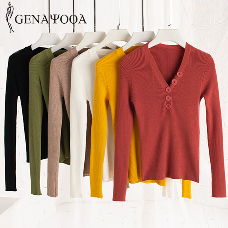 Genayooa Solid Jumpers Ladies Women Sweaters And Pullovers Spring Button V Neck Sweater Long Sleeve Knitted Sweater Women 2019