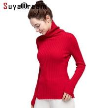купить Women Pullover 100%Cashmere Turtleneck Sweater For Women Fashion Rib Knits Pullovers 2019 Fall Winter Sweaters по цене 6894.14 рублей