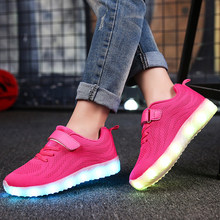 Children Led Shoes for Boys Girls Usb Charger Schoenen Kids Shoes Chaussure Enfant Luminous Glowing Sneaker with Light Sole 15(China)