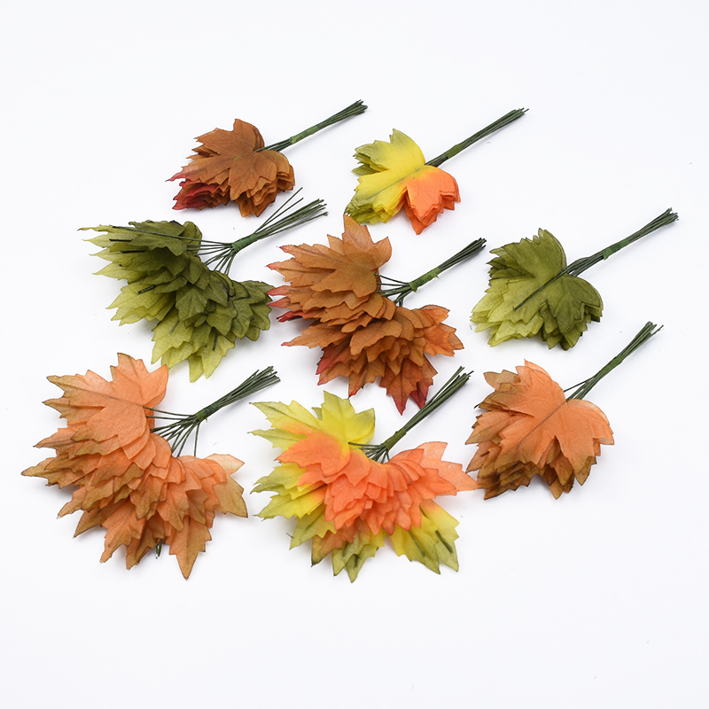 12pcs Christmas Leaves Home Decoration Accessories Scrapbooking Flower Wall Fake Leaf Gifts Box Diy Garland Artificial Plants