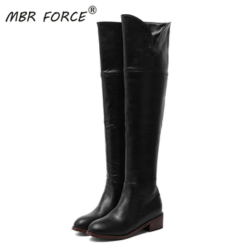MBR FORCE new female zipper boots thick-soled high heels round toe casual shoes winter warm high quality pu leather high boots haraval handmade winter woman long boots luxury flock round toe soft heel shoes elegant casual warm retro buckle solid boots 289