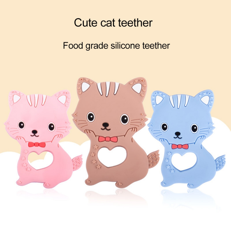 Food Grade Cute Cat Silicone Baby Teethers Accessory BPA Free Anti -Bite Chew Toys 3 Colors