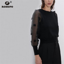 ROHOPO Semi-Sheer Long Sleeve Jersey Body Pollover Black Bouse Round Collar Ladies Autumn Jacquard Elegant Solid Top Shirt #9552