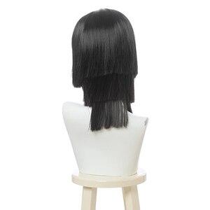 Image 3 - L email wig Demon Slayer Iguro Obanai Cosplay Wigs Kimetsu no Yaiba Black Short Halloween Cosplay Wig Synthetic Hair Perucas