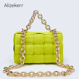 Thick Metal Chain Frosted Suede Shoulder Bag Women New Designer Woven Soft Square Crossbody Bags Female Chic Purse High Quality