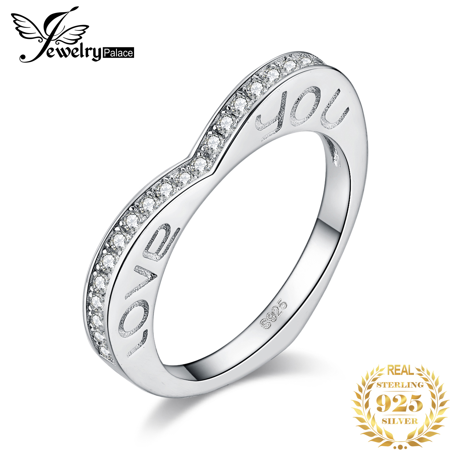JewPalace Love You Wedding Rings 925 Sterling Silver Rings For Women Stackable Anniversary Ring Eternity Band Silver 925 Jewelry