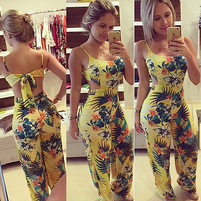 Boho Summer Printed Floral Bodycon Jumpsuits Sexy Women Sleeveless Backless Bow Knot Playsuits Overalls Romper Trousers