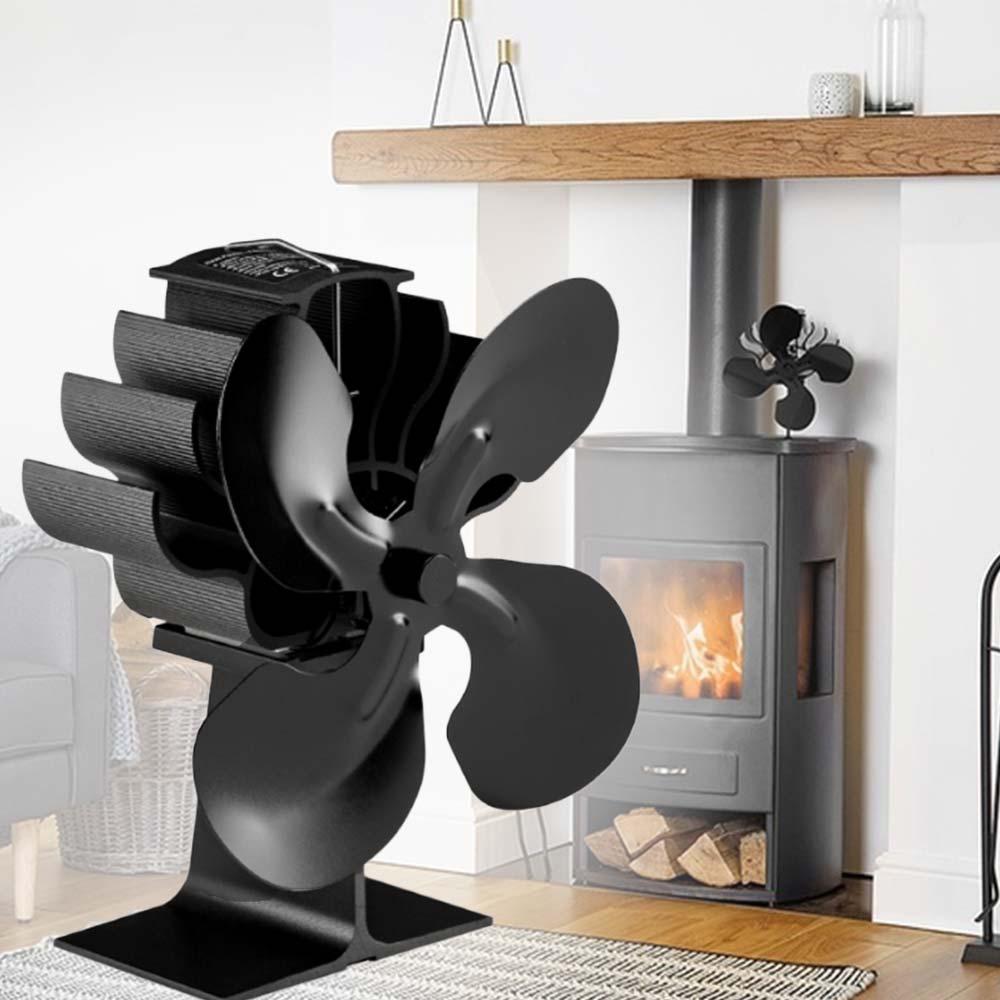 Heat Powered Fan Stove Fan Fireplace Fan Ultra-Quiet Mini Winter Wood Log Burner Indoor Household Warmer 4 Blades/8 Blades Air