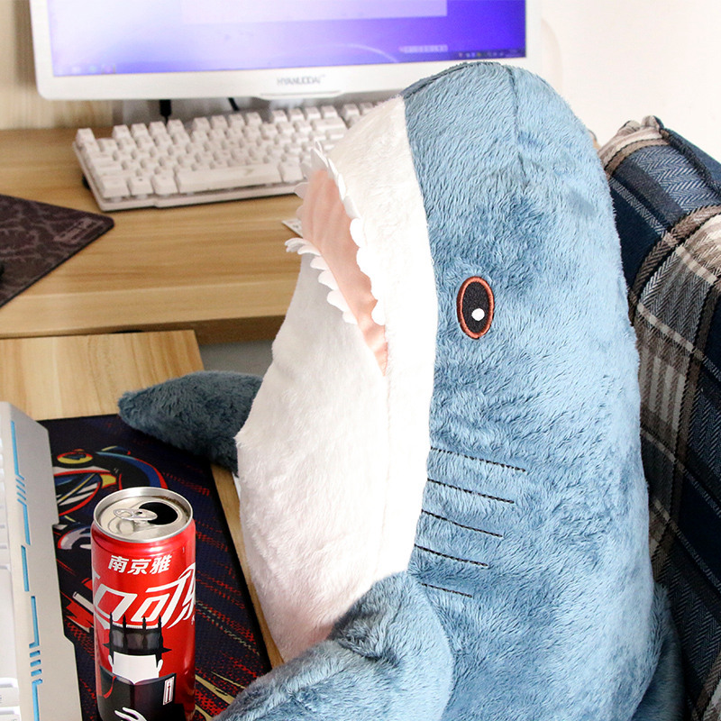 80-140cm Large Funny Bite Shark Plush Toy Soft Stuffed Cute Animal Reading Pillow Appease Cushion Gift Children Sofa Bed Decor
