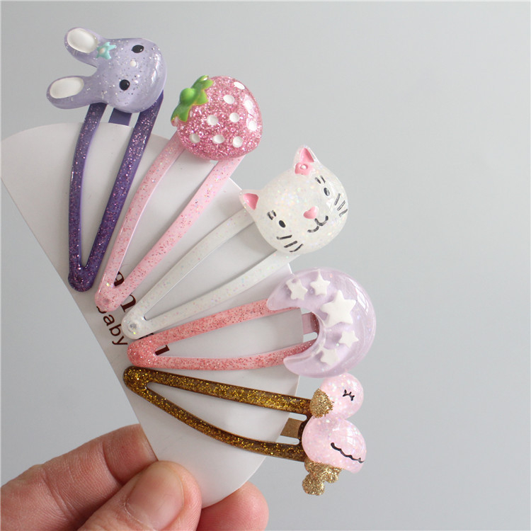 5PCS Cartoon Lovely Animal Strawberry BB Clips Kids Hairpins Baby Hair Clips Headdress Girls Hair Accessories Children Headwear