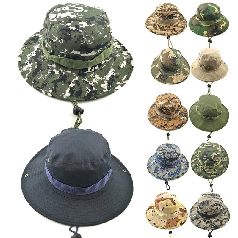 Bucket Hat Hunting Fishing Outdoor Cap Wide Brim Military Unisex Sun Hats Airsoft Camouflage Hunting Sunshine Hat Outdoor