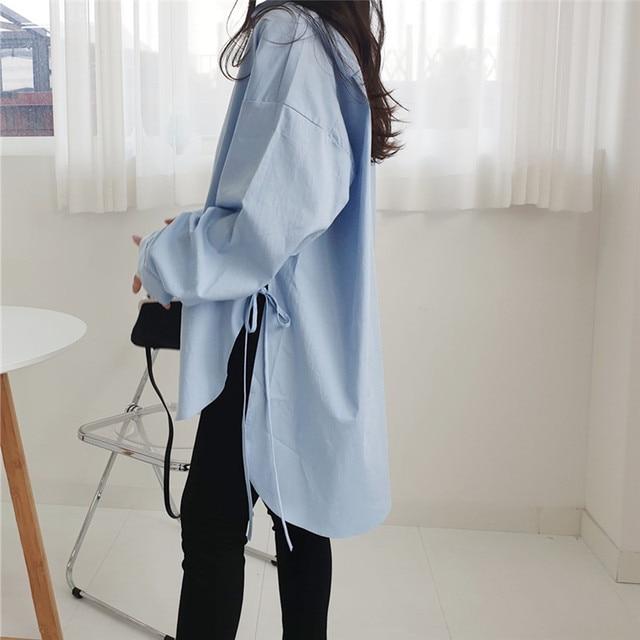 Spring  Sweet Turn-down Collar Womens Tops And Blouses Long Sleeve  Sweet Side Split Plus Size Ladies Shirt 3
