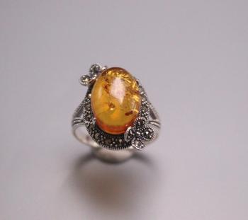 Nuevo anillo de Plata de Ley 925 pura ancho 22mm cuenta de ámbar Natural marcasita anillo de encaje