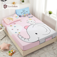 Liv-Esthete Cartoon Elephant Fitted Sheet Pink Mattress Cover Bed Linen 100% Cotton On Elastic Band For Adult Child