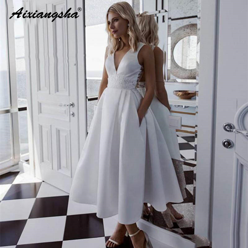 A-Line Ankle Length Wedding Dresses Satin Plus Size Country Short Lace Appliqued Bridal Gowns Vestidos Wedding Gowns