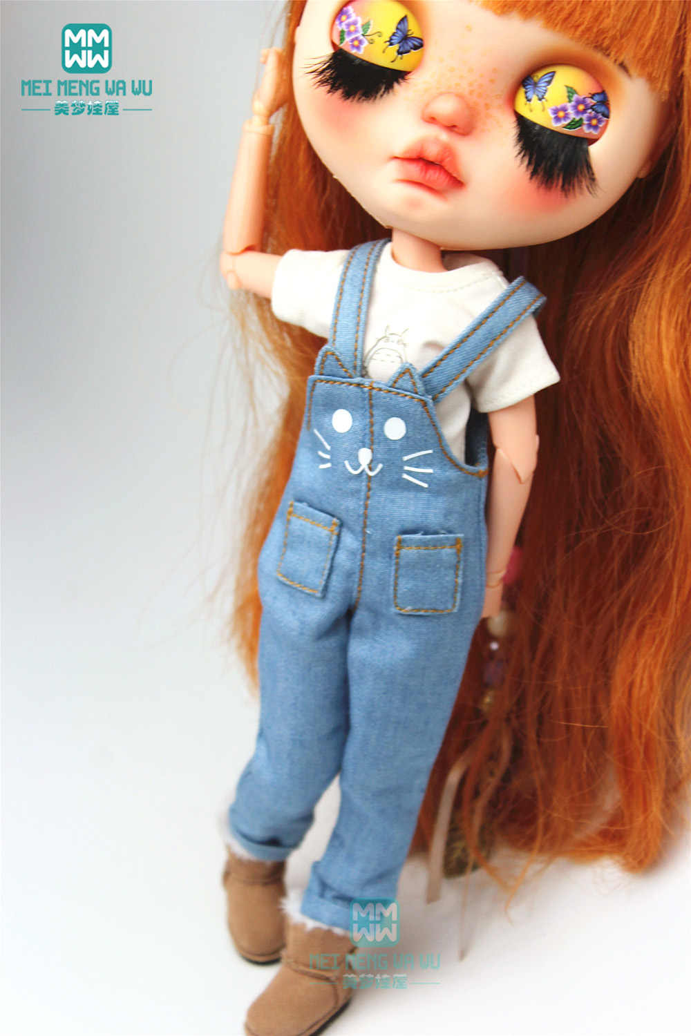 1 Pcs Blyth Kleding Mode Cartoon T-shirt, Kat Overalls Voor Blyth Azone 1/6 Pop Accessoires