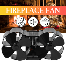 Stove-Fan Fireplace-Fan Burner Heat-Distribution Wood Powered for Log Home 8-Blades Eco-Friendly