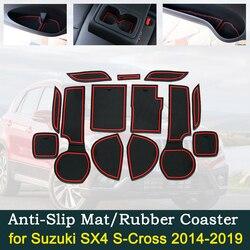 Anti drzwi przesuwne gumowa poduszka pod kubek dla Suzuki SX4 s cross 2014 ~ 2019 2015 2016 2017 2018 Groove akcesoria do wnętrza samochodu na telefon w Naklejki samochodowe od Samochody i motocykle na