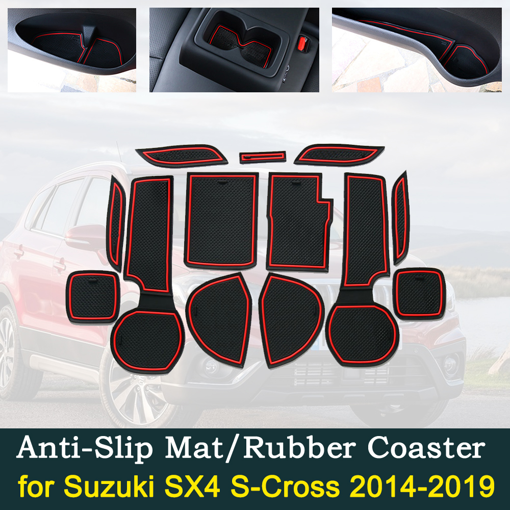 Anti-slip Door Rubber Cup Cushion for <font><b>Suzuki</b></font> <font><b>SX4</b></font> S-Cross 2014~2019 2015 2016 2017 <font><b>2018</b></font> Groove Interior Car Accessories for phone image