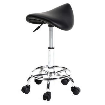 2Colors Adjustable Saddle Stool Ha Ha Feet Rotation Bar Stool Leather Stool Height Adjustable Bar Chair Work Rotating Chair