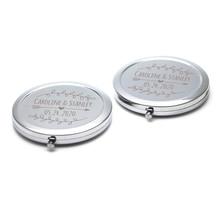 Personalisierte Hochzeit Geschenk Silber Compact Spiegel Frauen Make Up Spiegel Tasche Geldbörse Spiegel Nach Namen Logo Hochzeit Favor 20pcs