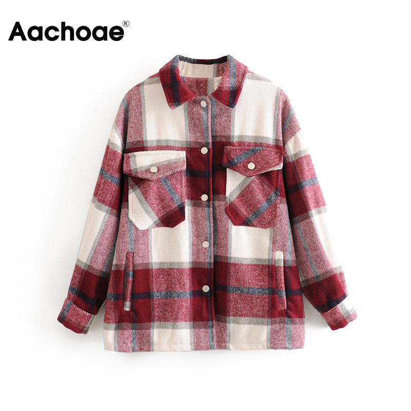 Aachoae Plaid Women Fashion Jacket Spring Turn Down Collar Casual Coat Outwear Female Batwing Long Sleeve Lady Tops Ropa Mujer