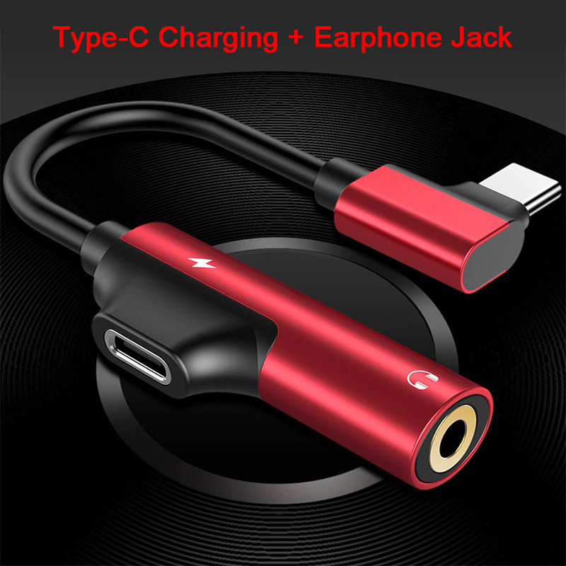 OTG Type C To 3.5mm AUX And USB C Female Audio Adapter 2in1 For Xiaomi 8 Samsung S9 Headphone Jack Adapter