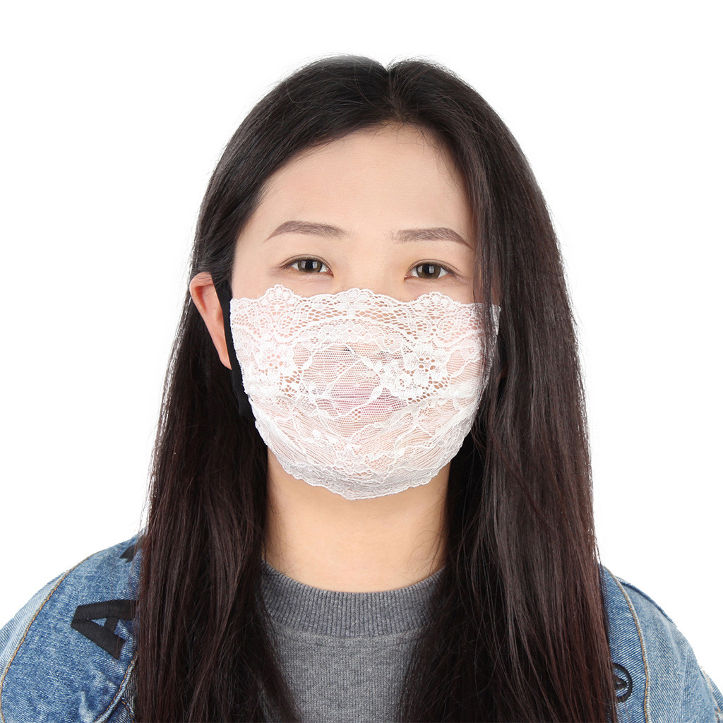 Summer Women Girl Anti Dust Sand Sunscreen Lace Face Mask Breathable Cycling Face Cover Maska Antywirusowa