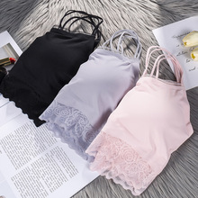 Underwear Top-Lace Sling Breast-Wrap Back-Tube Bottoming Bralette Ice-Silk Seamless Sexi