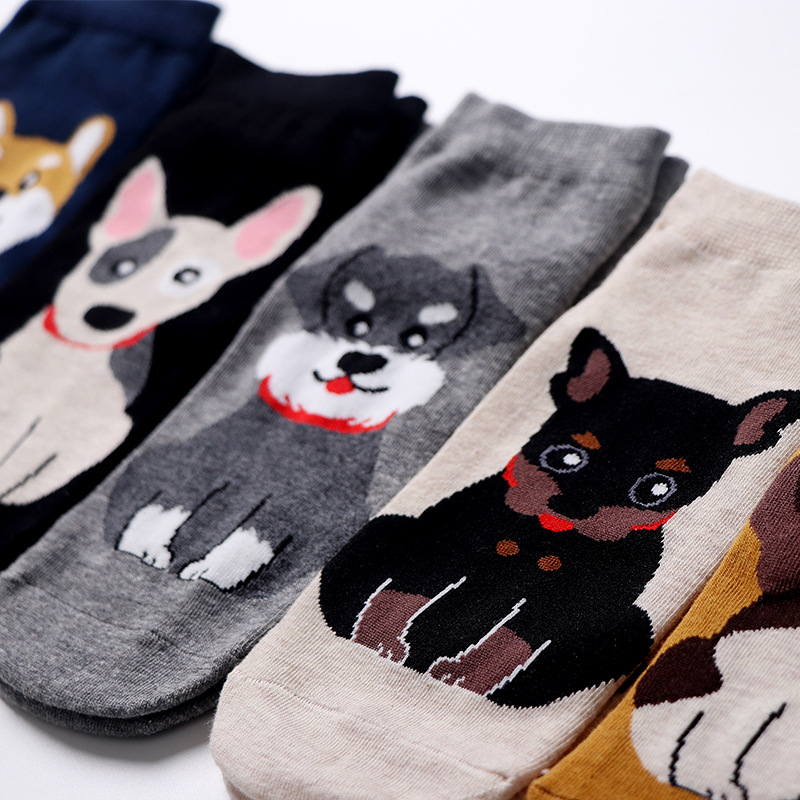 Short Socks Happy Women Cotton Woman Sox Shiba Inu Schnauzer Colorful Thin Sock Creative Ladies Spring Summer Trendy Lady Meias