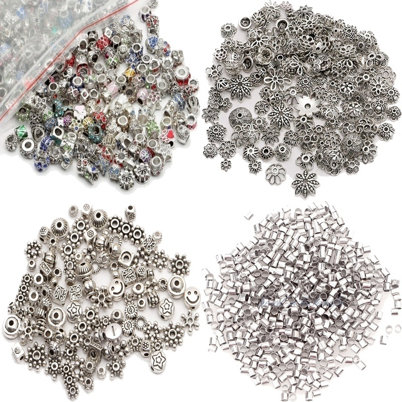 Wholesale Metal Beads Lots Tibet Silver Spacer Beads for Jewelry Making European Bracelet DIY Craft Findings Christmas Charms