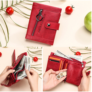 Image 5 - محفظة جلدية أصلية 100% نساء فاخرة غلق بمشبك محفظة نسائية للعملات المعدنية حامل بطاقة تتفاعل محافظ للنساء حقيبة صغيرة Cartera Mujer