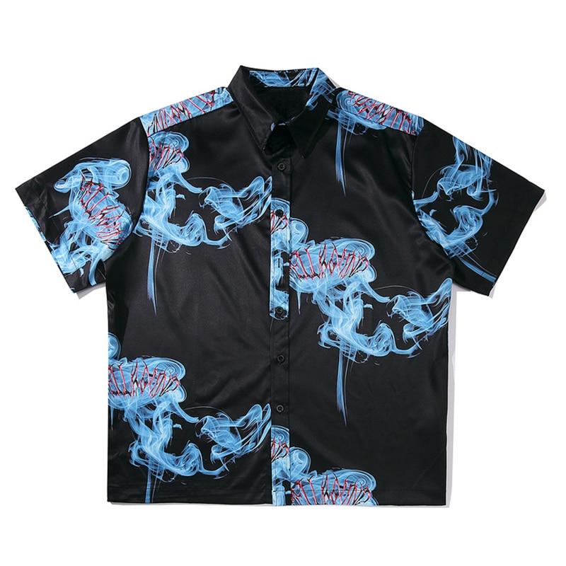 Mens Print Hawaiian Shirts Harajuku Streetwear 2020 Summer Short Sleeve Blouse Punk Rock Unisex Oversize Shirts Tops Big Size