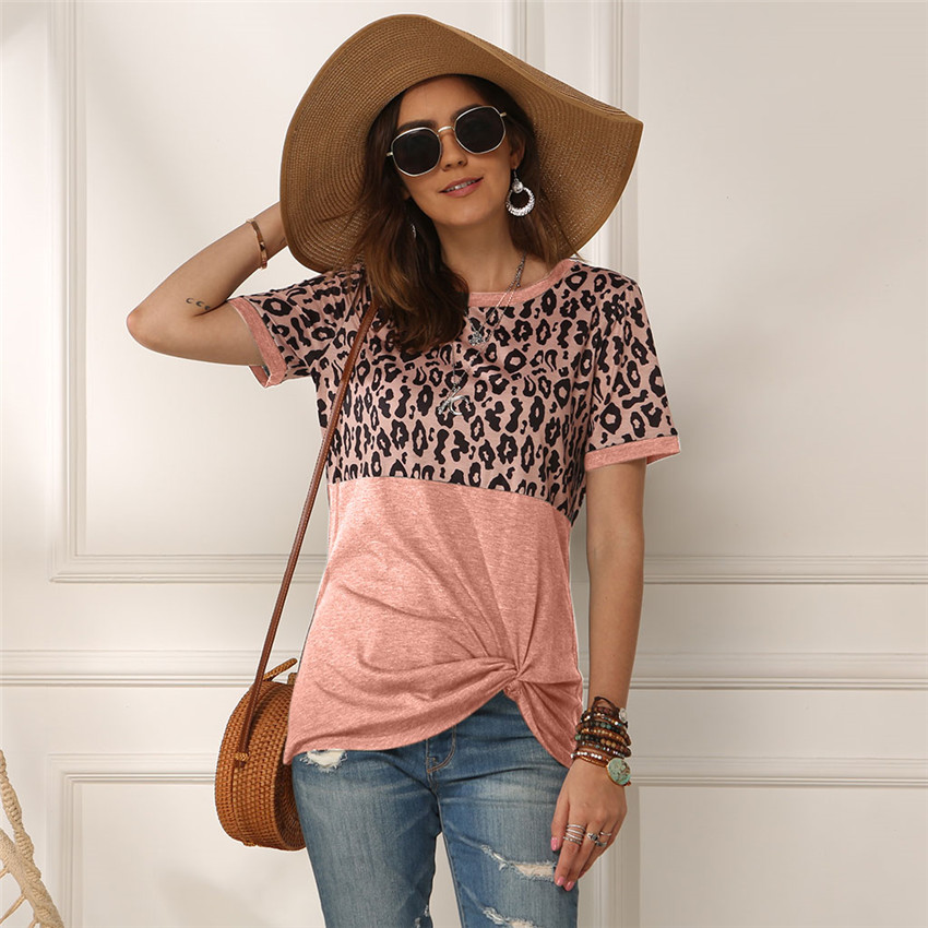 Leopard T-shirt Women Patchwork Top Summer Short Sleeve Tee Shirts Women Clothes 2020 New Tie Tops Tee Female 2XL Tee