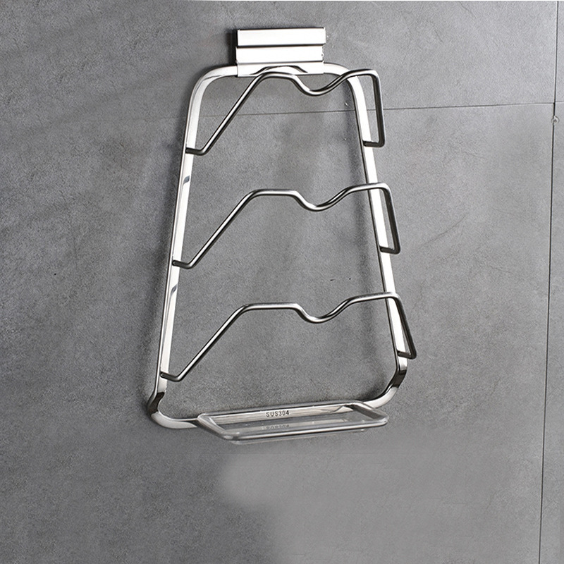 304 Stainless Steel Pot Cover Holder With Water Pan Storage Rack Supplies Multi-functional Kitchen Shelves Wall Hangers
