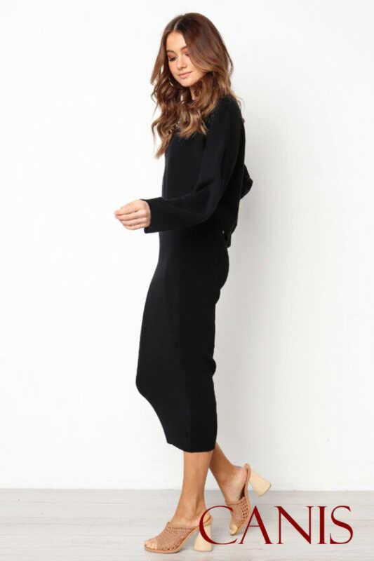 Nuevo elegante más tamaño mujeres 2 piezas de manga larga Crop Top Midi lápiz falda Bodycon adelgazamiento vestido conjunto
