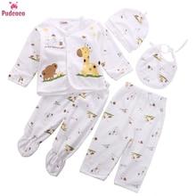 5 Pieces Pajamas Sleeper Set Newborn Infant Unisex Baby Boy Girl Clothes Animal Print Underwear Shirt and Pants 0-3M