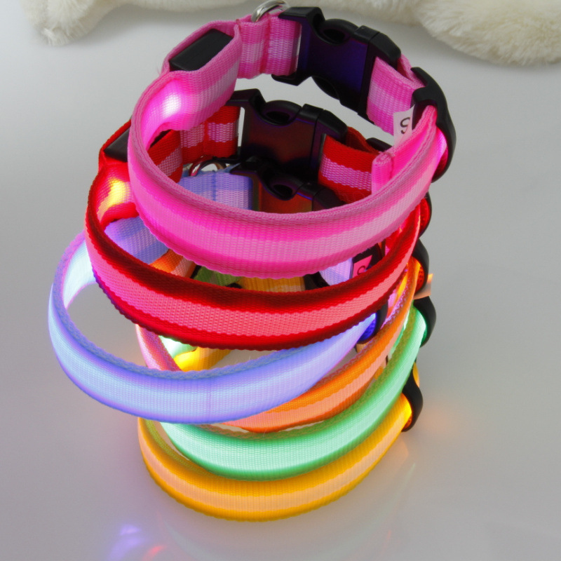 2.5 Cm Stripes Fiber LED Luminous Pet Collar Dog Collar 6-Color 3 PCs Size Supplies