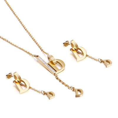 Elegant Letter D Jewelry Sets Stainless Steel Gold Color alphabet Pendant Necklace With Cubic Zirconia Gold Drop Earrings