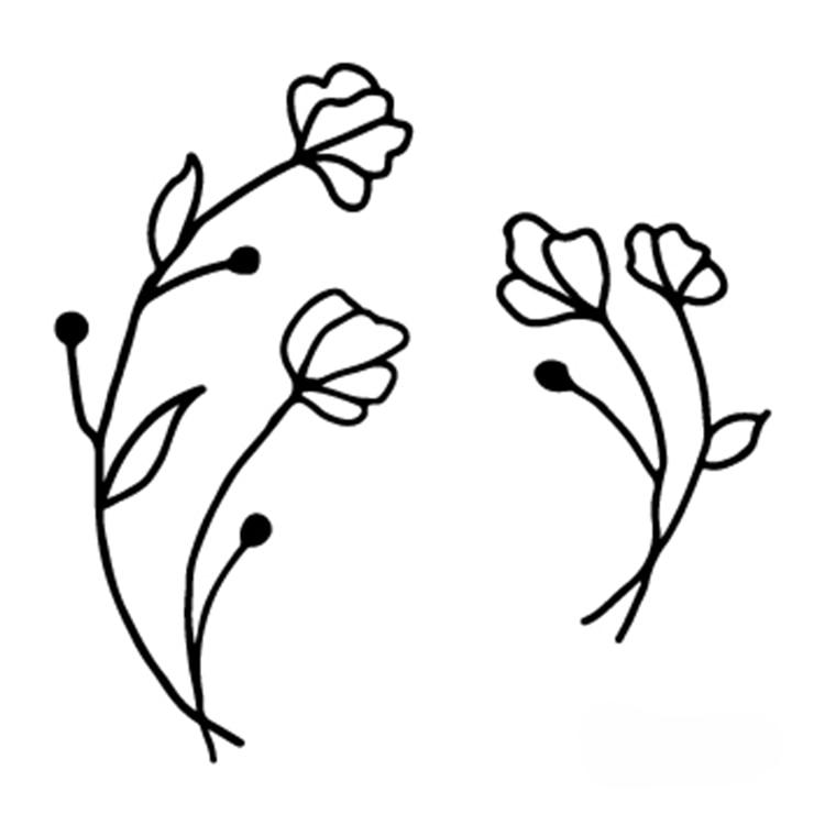 Temporary Tattoo sticker small Black White sketch Flowers flash Tatoo  Drawing Body Art Fake Water Transfer Stickers to kid girl 3