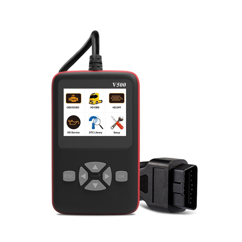 Солнечная Автомобильное зарядное устройство диагностики V500 OBD CR HD устройство Heavy Duty Truck диагностический инструмент считыватель кода сканер